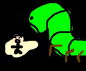 giant larva about to kill midget