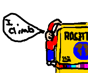 Man climbing Rosetta Stone