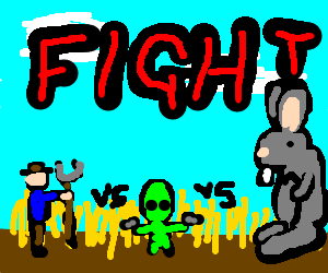 farmer vs alien vs mutated rabbit
