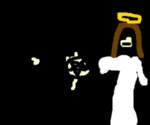 Jesus accepting pentagram from big-headed man