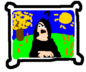Mona Lisa is suspicious about colorful landscape