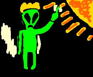 An alien king hates the sun.
