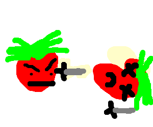 Angry tomatoe kills innocent tomatoe in a duel
