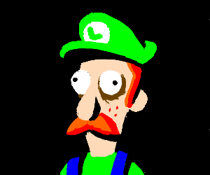 LUIGI STARES SOULESSLY OUT OF PICTURE