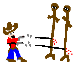 cowboy shoots at tall brown figures