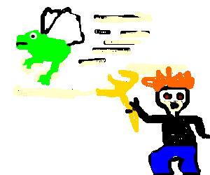 Frog angel flees crazed townsfolk