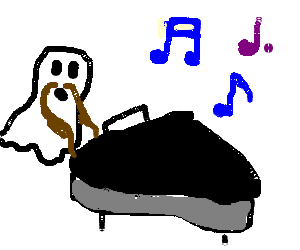 Ghost plays piano with prehensile mustache