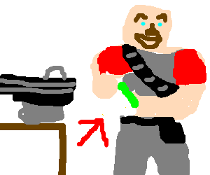 Heavy weapons guy eats sandvich