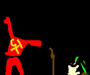 A soviet blasphemer talks to a crippled man