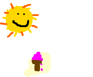 Sun enjoys melting chocolate ice-cream