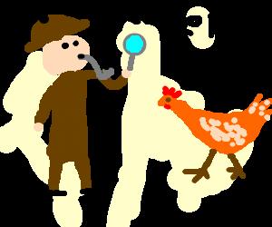 Sherlock Holmes solving the chicken mystery