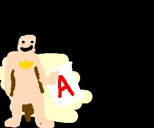 Naked batman receives an A !