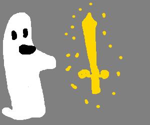 ghost is memorized by golden sword