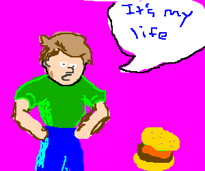 """a guy looking at food and saying """"its my life"""""""