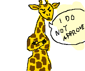 Manly giraffe does not approve