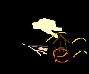 Dapper man breathes his soul into a desert well