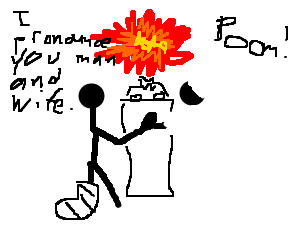 Crippled stick man getting married by explotion