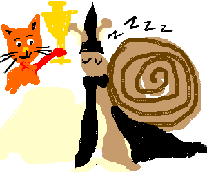 Wizard snail dreams of his cat winning a trophy