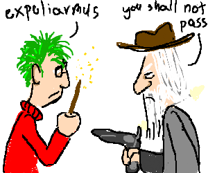 old green haired harry potter vs. cowboy Gandalf