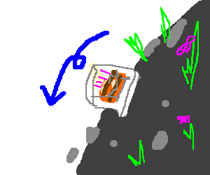 A bad drawn Birthday Cake is rolling down a Hill