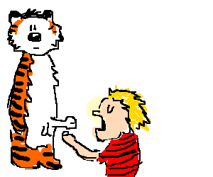 Calvin and Hobbes share an intimate moment
