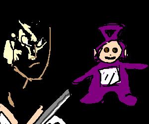 Samurai Jack about to slay purple teletubby.