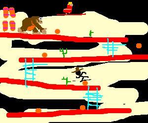Cowboy stickman against Donkey Kong