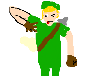 link with hand in his Armpit