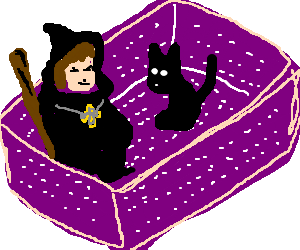 Magician and a teratismic cat in a huge fischbox