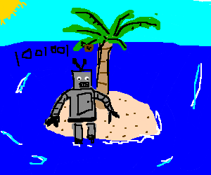 Android robot stranded on a desert island