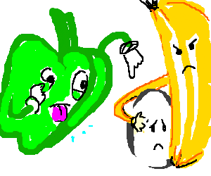 pepper is rude to egg and banana
