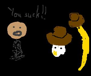 Pepper mocks stoned Sheriff egg deputy banana