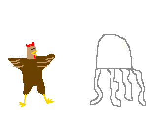 Chicken near a Jellyfish