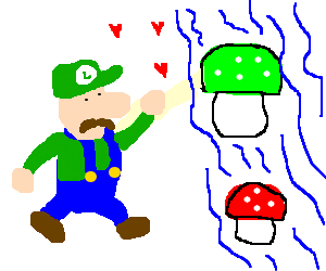 Luigi loves floating mushrooms