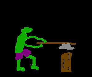 Hulk decides to be a lumberjack