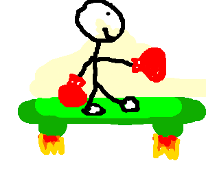 A Boxer riding a green hover board