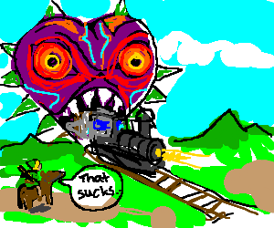Majora's Mask eats a train.