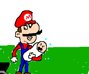 Anorexic mario takes kidnaps baby in field