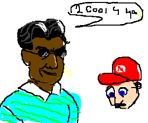 Charlie Sheen, black w/ shades & 2 cool 4 Mario