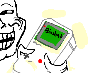 Troll playing an original Gameboy