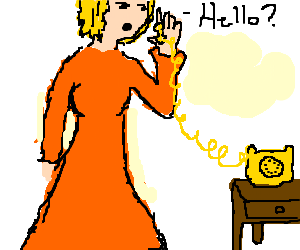 Lady in orange dress picking up yellw phone-ring