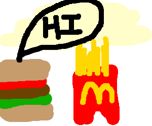 big mac saying hellow to mc fries