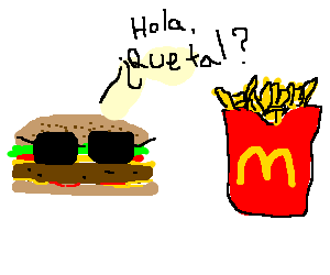 Big mac in glasses speaks spanish to fries