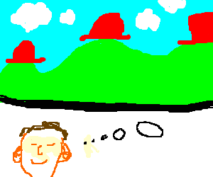 Man dreams of red-hat-wearing hills