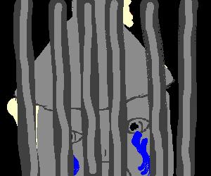 Tin Man sad, behind bars.
