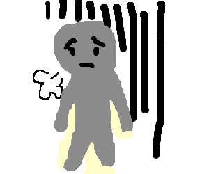 Naked grey man is depressed