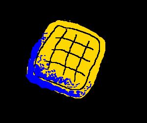 A waffle turns blue