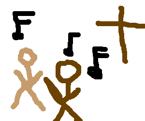 the protagonist of Journey dances on a church