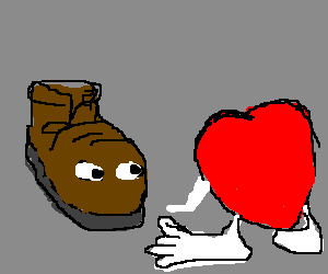 brown boot with red hearts flocking