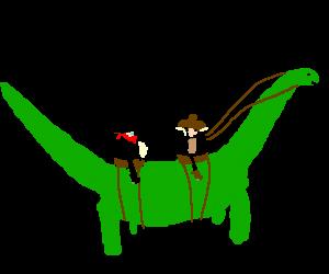 two cowboy riding a dino